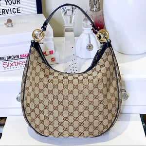 Gucci Monogram Hobo Bag with Gold/Silver hardware