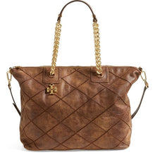 Load image into Gallery viewer, Tory Burch Brand Tote Bag Brown Leather Diamond Stitch Tote Bag