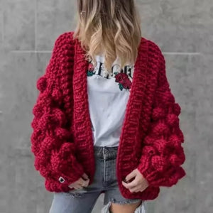 Lantern Sleeve Oversized Cardigan