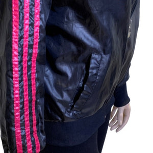 Adidas Wet Look Wind Breaker Bomber Jacket Size Small
