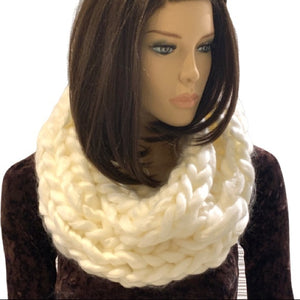 Chunky Knit Cream Coloured Infinity Scarf Handmade