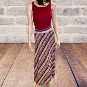 Lapis Vintage Printed Jersey Knit Maxi Skirt Size Small