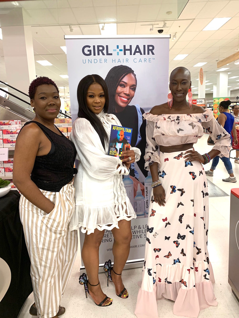 Claire Sulmers with beautiful Target guests at Target Brooklyn Junction, New York