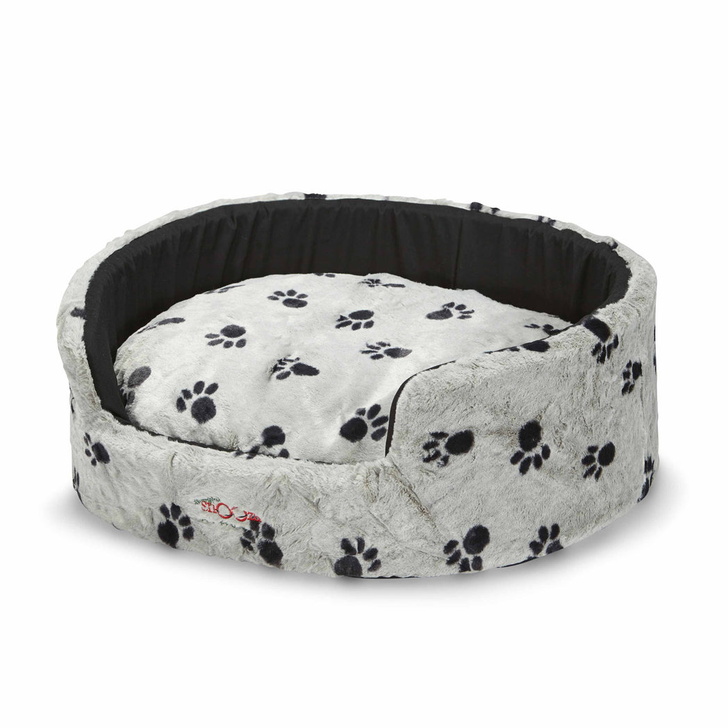 Buddy Bed Silver/Black Paws