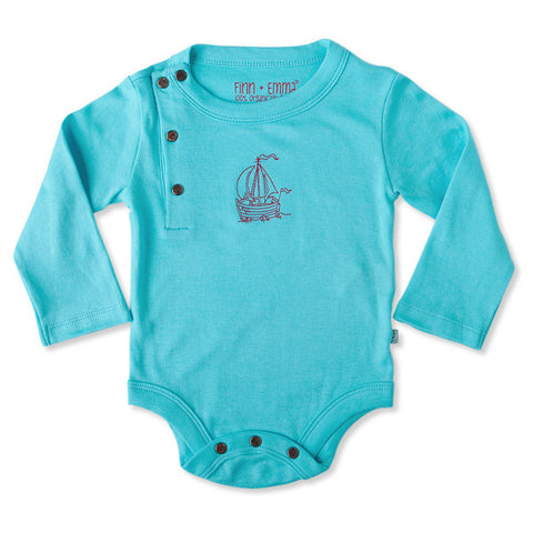 Finn + Emma B.B. Blue Long Sleeve Bodysuit