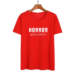 Horror Movie Addict Funny T Shirts