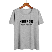 Load image into Gallery viewer, Horror Movie Addict Funny T Shirts