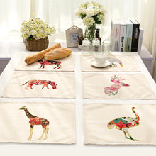 Load image into Gallery viewer, Animal Cotton Linen Table Mats