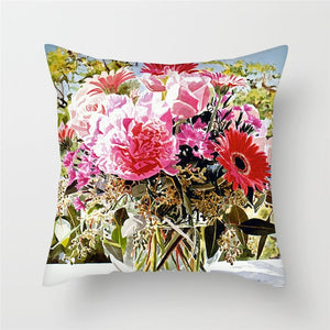 Bright Floral Oil Paintings Cushion Cover