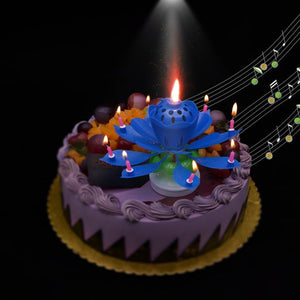 Rotating Lotus Flower Birthday Candle