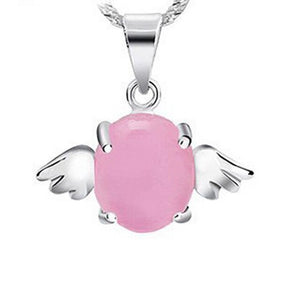 Silver Plated Opal Pendant Angel Wings