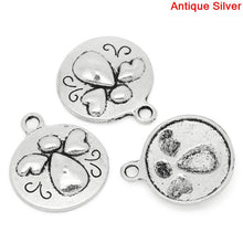 Load image into Gallery viewer, Round Antique Silver Angel Pattern