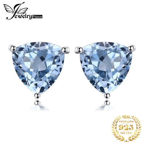 Genuine Blue Topaz Stud Earrings