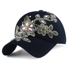 Load image into Gallery viewer, Baseball Cap With Flower Canvas