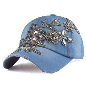 Baseball Cap With Flower Canvas