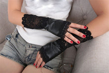 Load image into Gallery viewer, Black Lace Patchwork Gloves