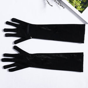 Mid-Upper Arm Wet Look Gloves