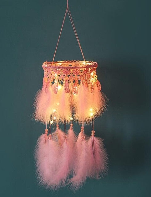 Handmade Girls Pink LED Dreamcatcher