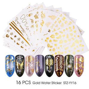 Gold Silver Nail Water Sticker