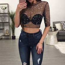 Load image into Gallery viewer, Sequin Crop Short Sleeve