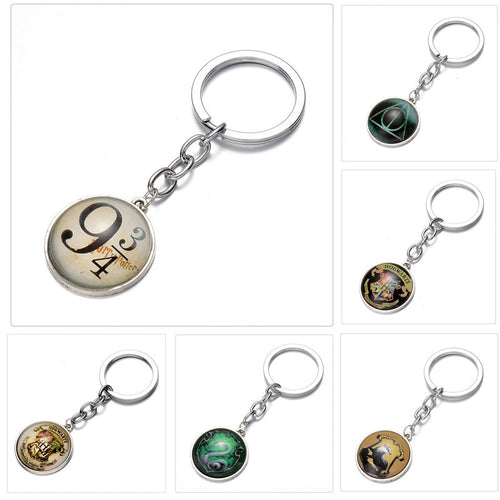 1Pcs New Arrival Movie Harri Potter Key Chain Alloy Deathly Hallows Key Ring Potter Figure Kids Gift