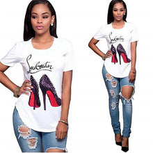 Load image into Gallery viewer, Showtly High-heeled shoes Female oversized Women T-shirt  Korean Fashion Clothing Streetwear Vogue T-shirts