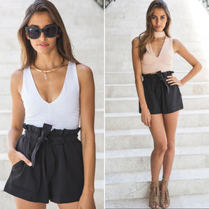 Casual High Waist Crepe Shorts