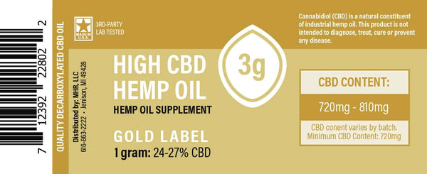 Gold Label Hemp CBD Extract Syringe 3g