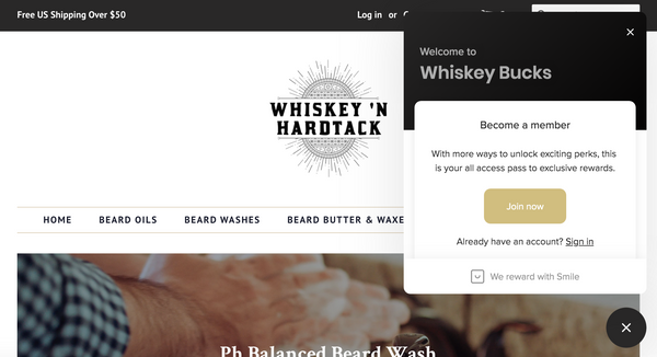 Image of Homepage showing Whiskey Bucks Popup