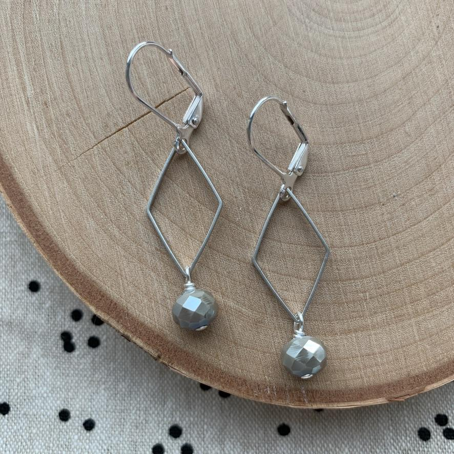 Dana Herbert - Silver Plated Diamond and Gray Green Glass Earring