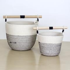 Woven Grey - Woven Basket with Wooden Handle Large