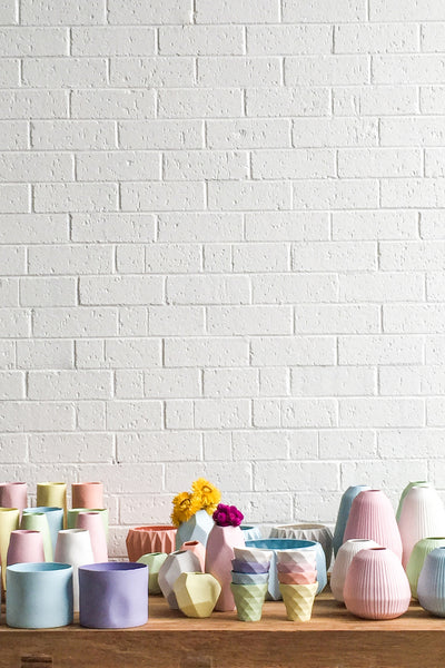 PASTEL VASES AND CUPS