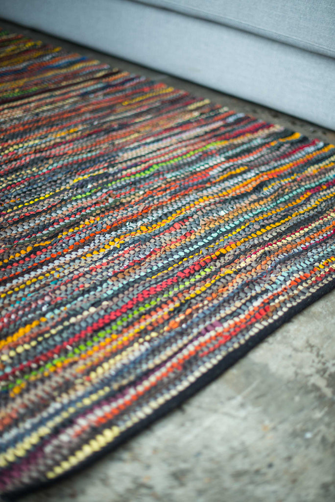 EARTHY LEATHER WEAVE RUG