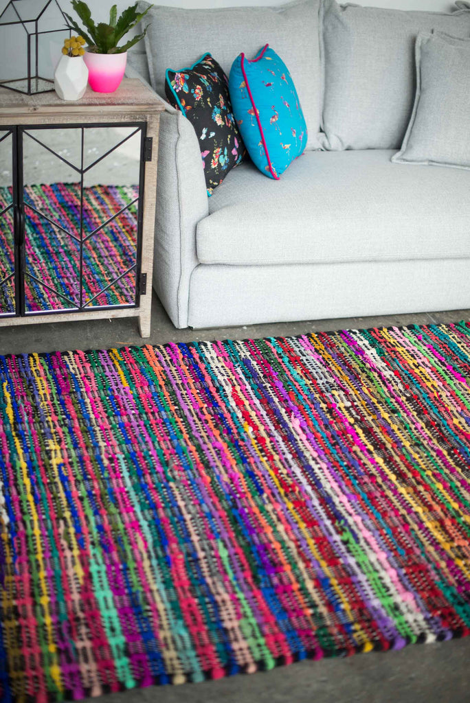 BLACK AND COLOURED COTTON RUG
