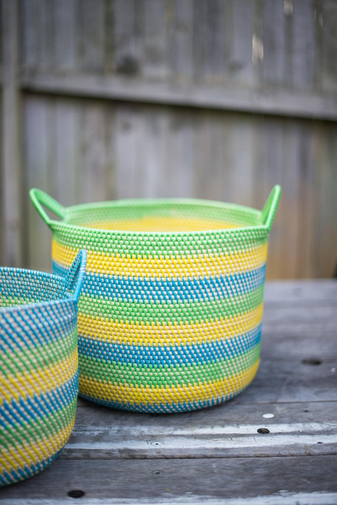BLUE, EMERALD AND YELLOW BASKET SET