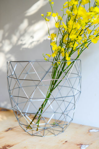 SILVER TALL BASKET