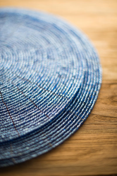 OPAQUE BLUE BEADED PLACEMAT
