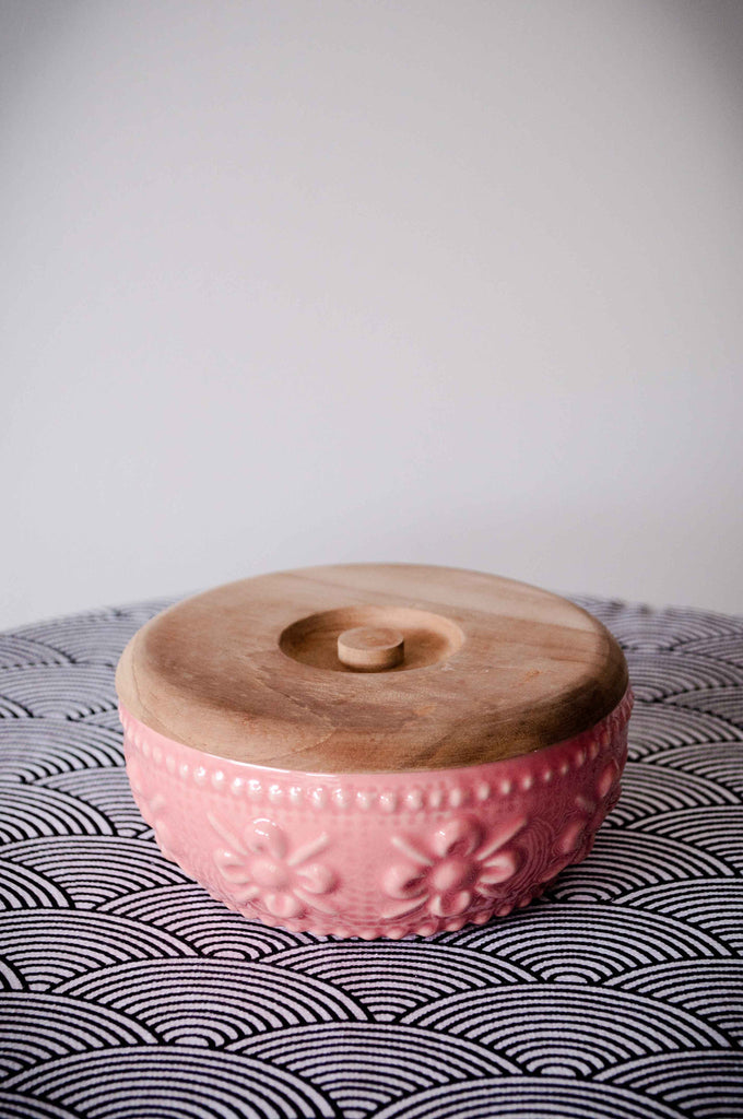 EMBOSSED FLOWER BOWL - PINK GLOSS
