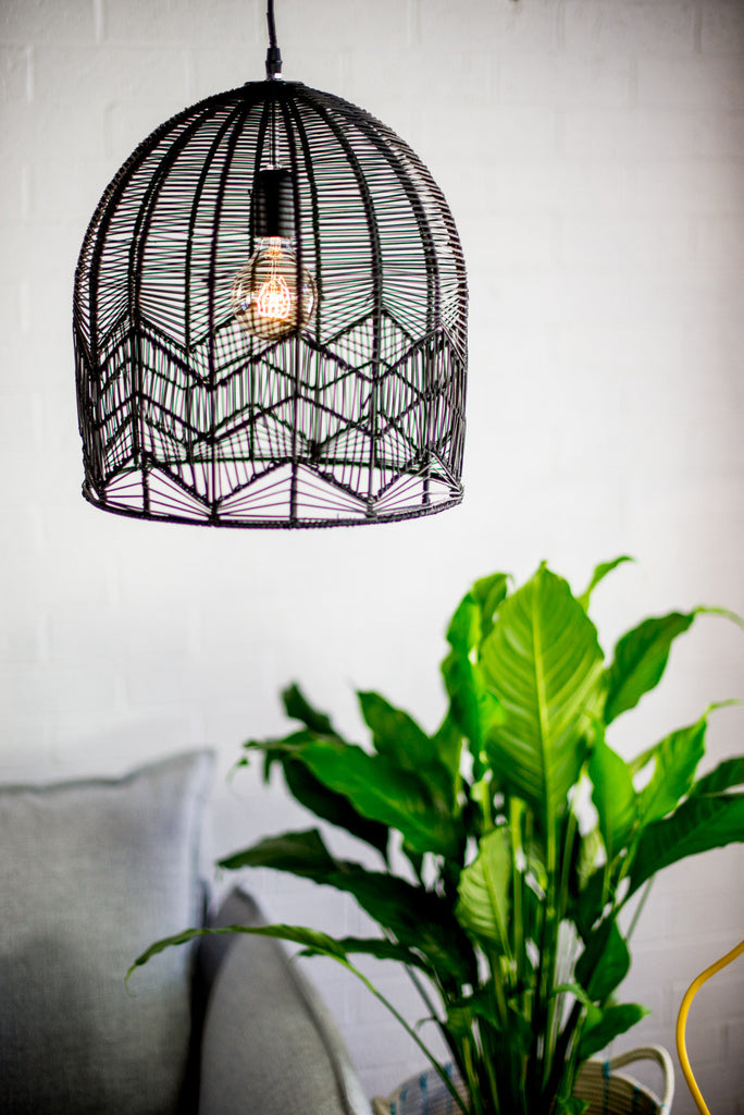 LACE RATTAN LIGHT - BLACK (LARGE-PRE ORDER)
