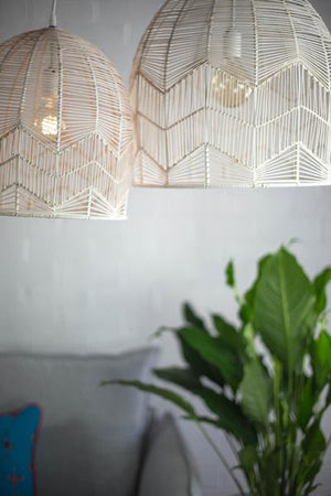 LACE RATTAN PENDANT - WHITE WASH -Small Size Preorder Only