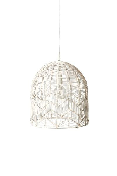 LACE RATTAN PENDANT - WHITE WASH