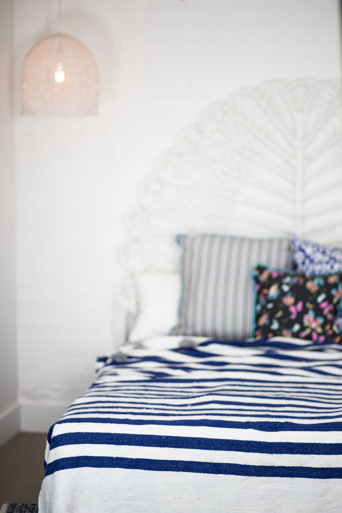 BLUE & WHITE STRIPED MOROCCAN BLANKET