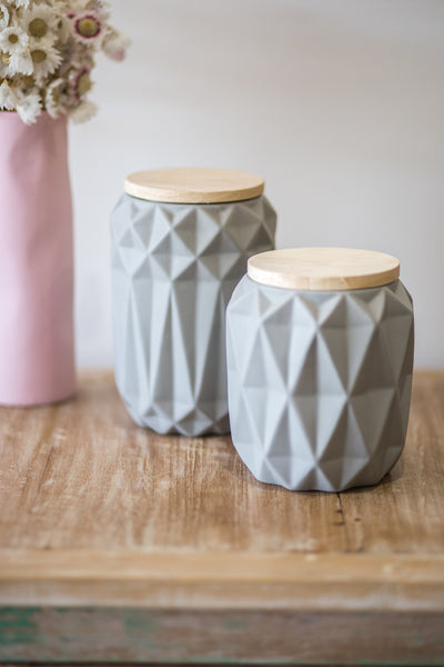 GREY GEOMETRIC JARS