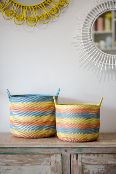 BLUE, ORANGE AND YELLOW BASKET SET