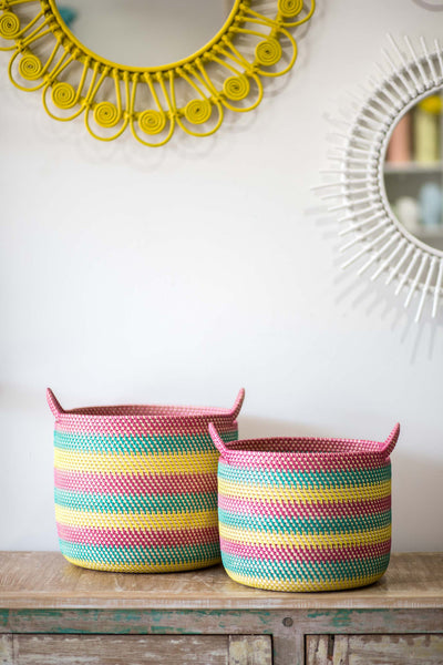 MAGENTA, EMERALD AND YELLOW BASKET SET