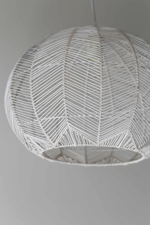 White Round Rattan Pendant Milly And Eugene