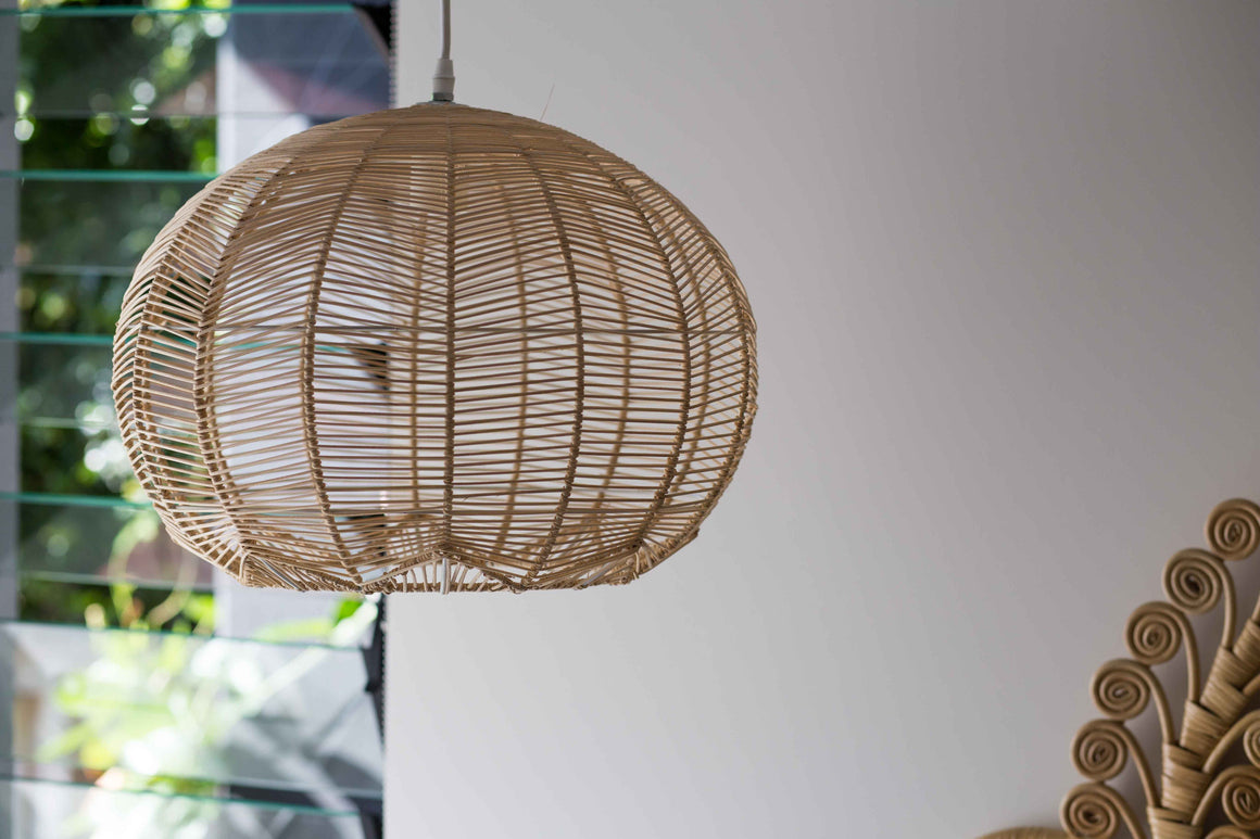 NATURAL ROUND RATTAN PENDANT - PREORDER ONLY