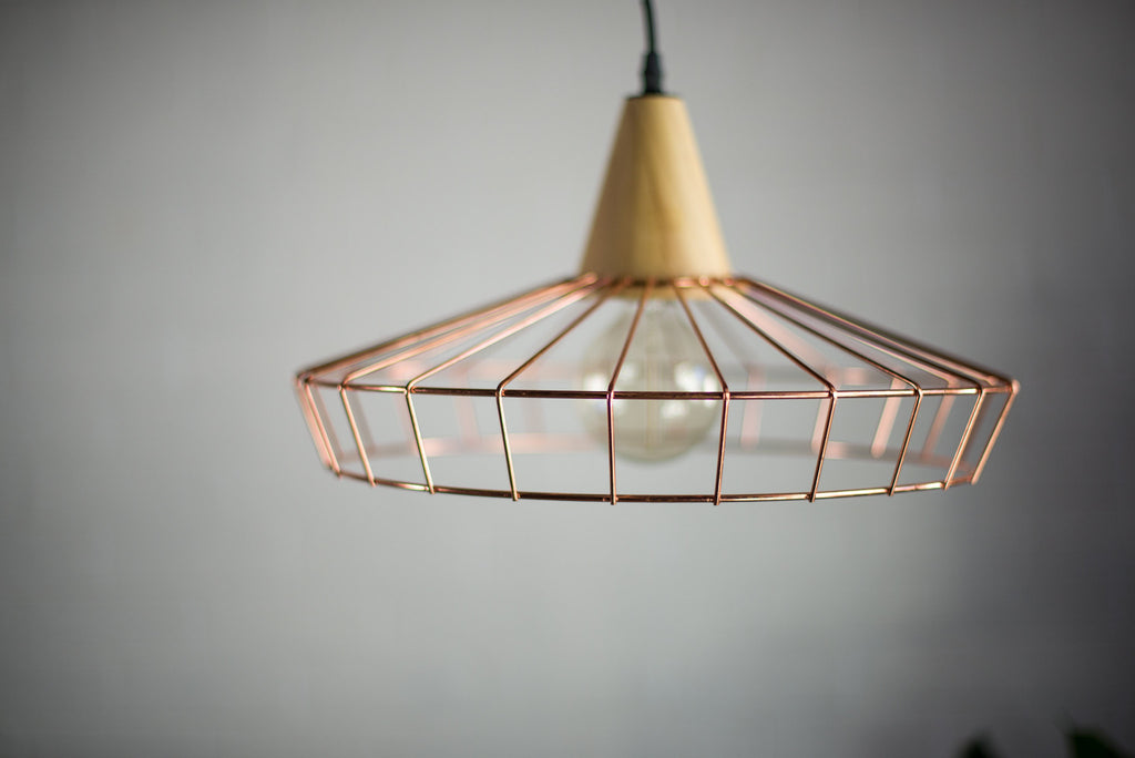 COPPER AND TIMBER UMBRELLA PENDANT