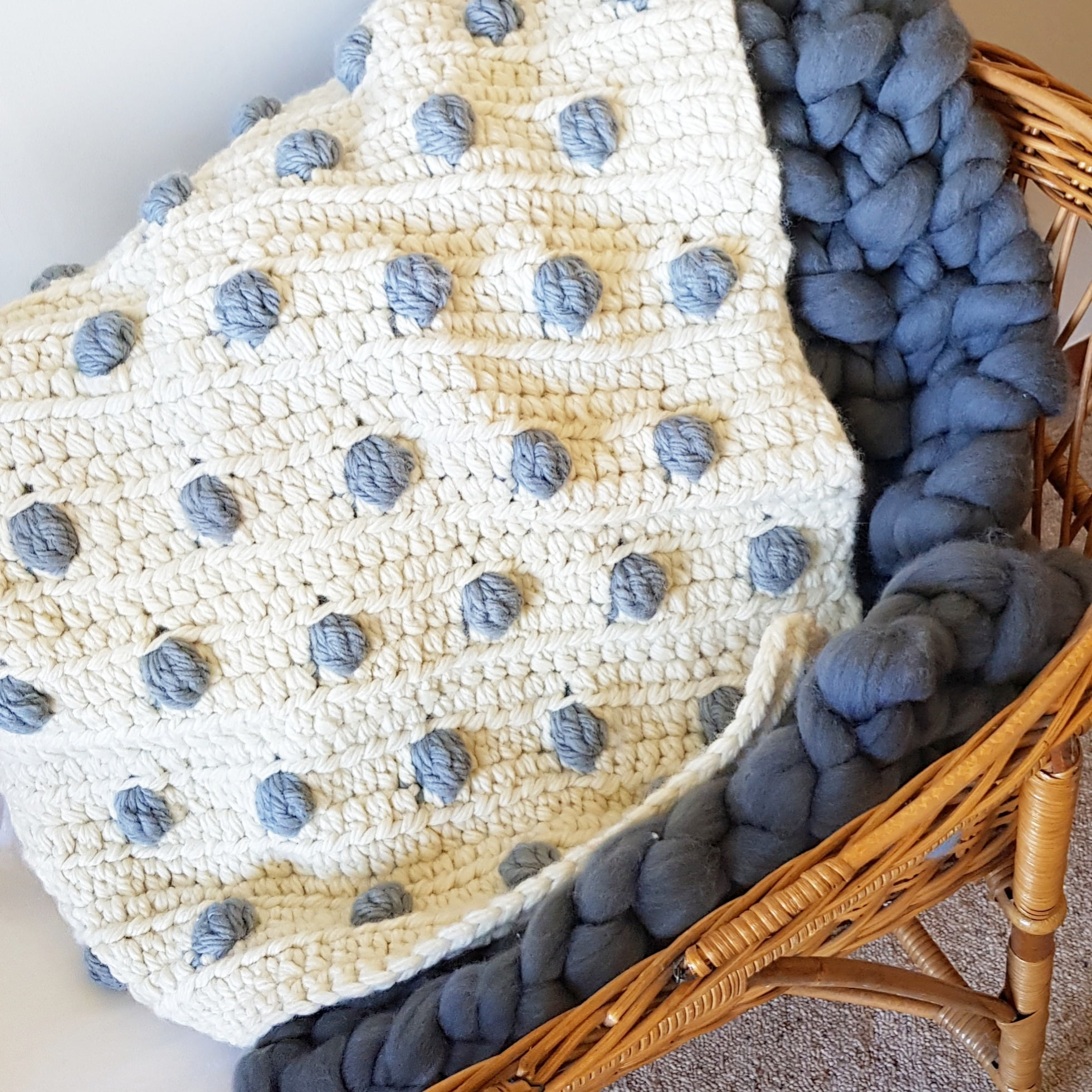 CROCHET KIT | White & Grey Bobble Baby Blanket Kit