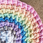 Tube Yarn Round Rug | Rainbow Sample w Rib
